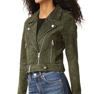 Blank NYC Green Suede Moto Jacket